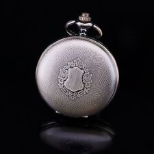 Full Hunter Brass Shield Theme Skeleton Roman Numerals Wind Up Pocket Watch Men