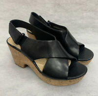 Clarks Ladies Wedge Sandal Maritsa Lara Black Leather Size 4D Sale Price