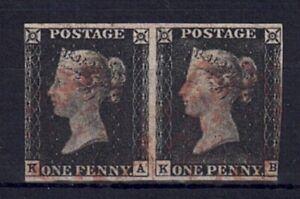 QV 1840 Penny Black Pair plate 4 letters KA-KB red MX
