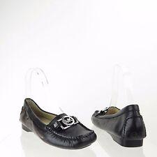Michael Kors Charm Loafers Women Shoes Black Leather Mocassin Flats Sz 5.5 M NEW