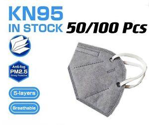 50/100 Pcs Gray KN95 Protective 5 Layer Face Mask BFE 95% Disposable Respirator