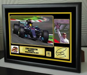 """Lewis Hamilton F1 Mercedes Italian  2017 Framed Canvas Print Signed """"Great Gift"""""""