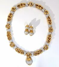 $22000 4.00CT DIAMONDS NECKLACE DANGLE EARRINGS SUITE 18KT