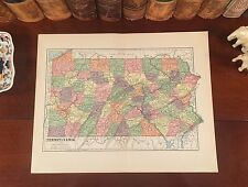 Original 1882 Antique Map PENNSYLVANIA Allentown Bethlehem Reading Erie York PA