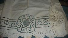 "#841 Antique  vtg WHITE Pillow Sham 82'' L  x 29 1/2"" W  CUT & EMBROIDERED"