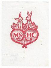 HANS PAPE: Exlibris für MS u. HC; Hasen auf Herz