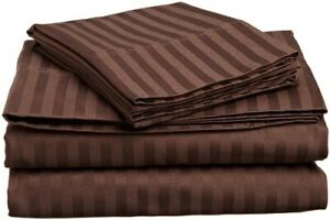 ~UK Bedding Collection All Size 1000 TC 100% Pima Cotton Chocolate Striped