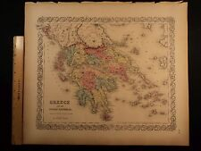 1855 1st COLTON Atlas Color Map GREECE Ionian Islands Aegean Sea Lesbos 14x17in