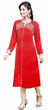 Red Bollywood Designer Indian Kurta Kurti Women Dress Tunic Top Pakistani XL
