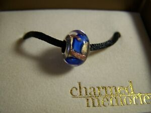 KAY JEWELERS CHARMED MEMORIES MURANO GLASS BLUE & GOLD FOIL GLASS BEAD CHARM SIG