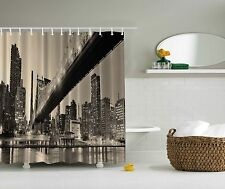 NYC New York City Brooklyn Bridge Fabric Shower Curtain Digital Art Bathroom