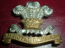 CAP BADGES-ORIGINAL VICTORIAN/QVC 12th ROYAL LANCERS NICE BADGE