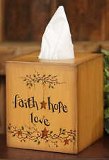 Country Farmhouse Boutique Tissue Box Cover Faith Hope Love