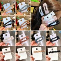 Women's Girls Slide Snap Hair Clips Barrette Hairpin Crystal Pins Accessories