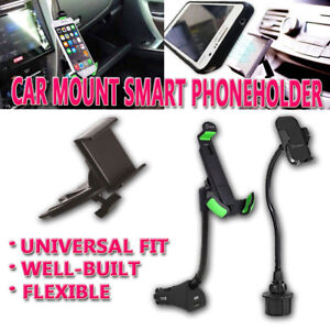 Zone Tech Car Cup Holder CD Slot USB Charger Cell Phone Mount Dock Adjustable
