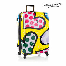 "Heys Romero Britto Luggage 30"" Fashion Spinner Suitcase Hearts Carnival TSA"