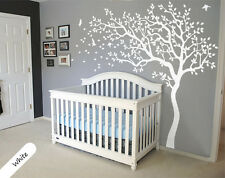White tree wall decal huge tree wall decals nursery sticker decor wall mural 047