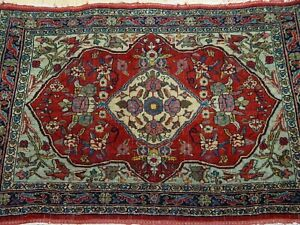 """2' x 2'8"""" Kurdish Antique Hand-Knotted Wool Authentic Oriental Rug Cleaned"""