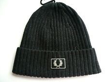 Genuine FRED PERRY Black Logo Cuff Ribbed BEANIE Hat Toque OSFA Tags