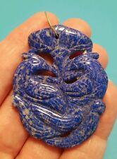 14k Yellow Gold Lapis Lazuli Carved Birds Large Chunky Pendant Necklace