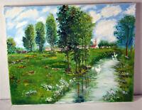 "20"" Vintage Oil Painting Canvas Rustic Landscape Old Church Village Houses"