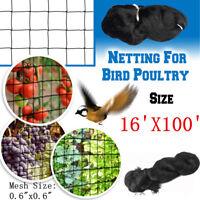 16'X100' Anti Bird Protection Net Fruit Vegetables Flower Garden Pond Netting