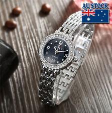 New Crystal Rhinestone Silver Analog Quartz Women's Wrist Watch with Black Dial