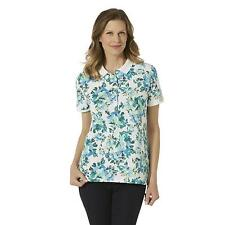 Women's Missy Laura Scott Button Polo Floral Florida Keys Size LARGE NEW