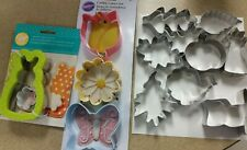 Lot Of 13 Cookie Cutters - 5 New Wilton - 8 New Misc. Flowers Bunny Leaves Tree