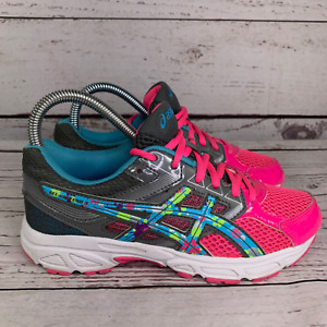 Asics Gel Contend 3 Girl Pink Lace Up C566Q Round Toe Sneaker Athletic Shoe US 4