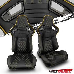 2× Universal Black PVC Main Yellow Line Racing Bucket Seats Left/Right Pair
