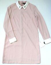 Victoria Beckham for Target Women Long Sleeve Blush Bunny Collared Dress M NWT