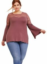 TORRID ( 2X  18-20 )  SOFT LACE WALNUT BELL SLEEVE TOP ILLUSION SWEETHEART FLARE