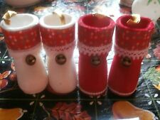 4 Vintage Japan ? Flocked Hollow Candy Jingle Santa Boots Christmas Ornaments