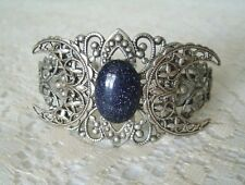Blue Goldstone Triple Moon Cuff Bracelet, wiccan pagan wicca witch witchcraft