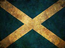 Impresión Cartel Bandera Nacional de Escocia Saltire Azul Blanco subrayó Grunge lfmp0561