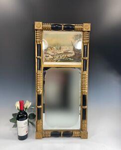 Antique Federal split column mirror W/Currier & Ives Style Print Black Paint