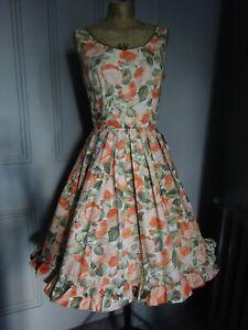 1950s PLEATED SUN DRESS-50s Floral Cotton Party Dress.