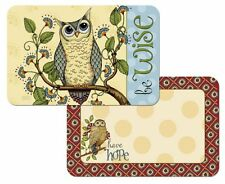 NEW 4 Wise Owl Counterart Placemats - Reversible Wipe-Clean Plastic
