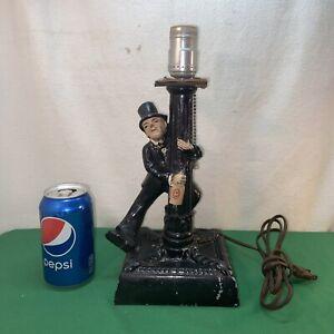 Vtg 1920-30's Charlie Chaplin Drunk Bum Metal Lamp Post Bar Light With Music Box