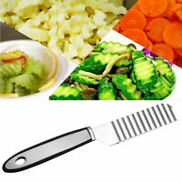Edelstahl-Kartoffel-Chip-Gemüse-Schneidmesser-Schneidmesser-Wellen-Messer n T2G5