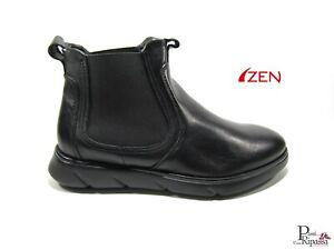 Scarpe polacchine da uomo invernali casual in pelle senza lacci alte Zen nere