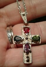 Sterling Silver .925 Cross Mixed Color Pear Gemstone Marcasite Pendant Necklace