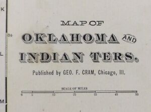 """Vintage 1902 OKLAHOMA INDIAN TERRITORY Map 22""""x14"""" Old Antique Original CHOCTAW"""