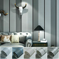 10M Rare Shiny Stripes 5 Colors Embossed Flock Textured Non-woven Wallpaper Roll