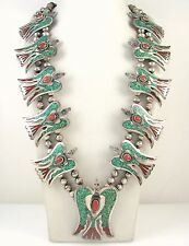 """Navajo Signed """"K"""" Sterling Silver Turquoise Coral Bird Squash Blossom Necklace J"""