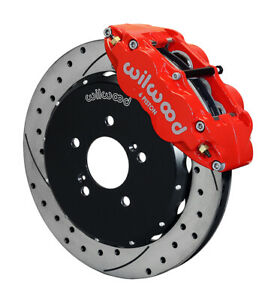"""Wilwood FNSL6R Front Hat Kit,12.88"""", Drill, Red Honda S2000"""
