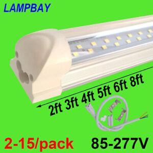 2-15/pack 2ft 3ft 4ft 5ft 6ft 8ft LED Tube Bulb Twin Row Lights Integrated Lamp