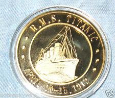 RMS TITANIC COIN 24KT GOLD Cook Islands Queen Elizabeth II Commemoration Ship UK