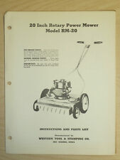 """Western Tool 20"""" Rotary Power Mower Operating, Parts Manual Model Rm - 20"""